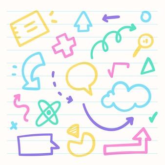 School infographic elementen met kleurrijke markeringen