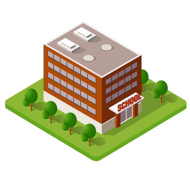 School isometrische gebouw studie onderwijs
