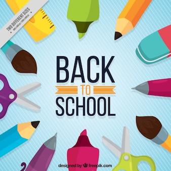 School items op blauwe achtergrond met witte lijnen