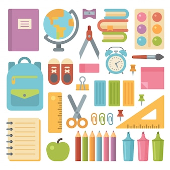School items platte icon set