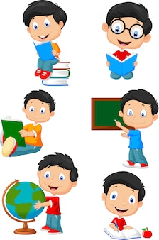 School jongen cartoon karakter collectie set