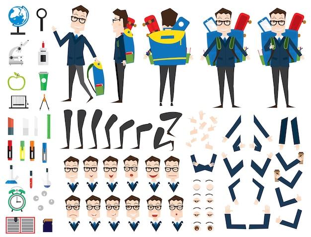 School jongen teken animatieset. voor-, achter-, zijaanzicht. verschillende emoties. vectorillustratie. schoolspullen. geïsoleerd op een witte achtergrond.