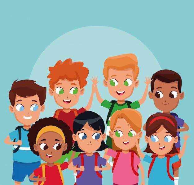 School jongens en meisjes tekenfilms