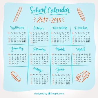 School kalender 2017-2018 met tekeningen