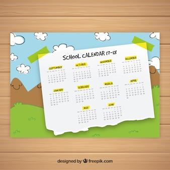 School kalender met landschap tekening