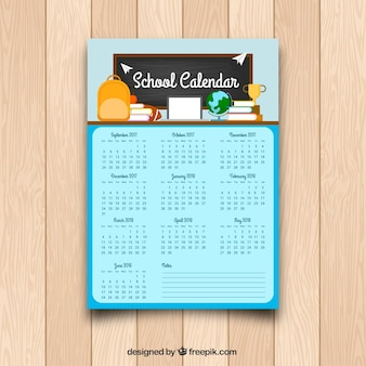 School kalender sjabloon in plat ontwerp