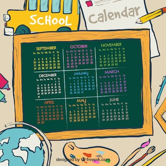 School kalender van materiaal tekeningen en schoolbord