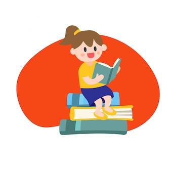 School karakter zittend op boeken