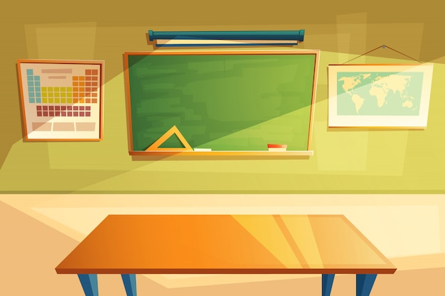 School klas interieur. universiteit, onderwijsconcept, schoolbord en tafel.