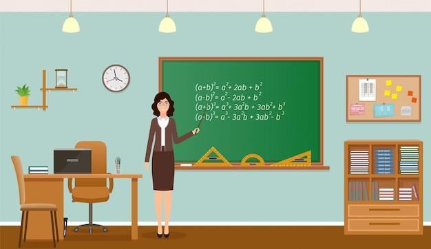 School klas met schoolbord, klok en leraar bureau. teacher staing in klaslokaal interieur.