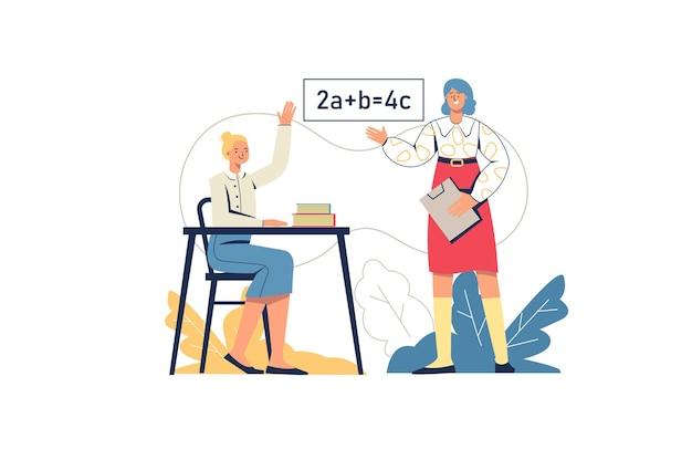 School leren webconcept. schoolmeisje antwoordt in de les, leraar leert onderwerp. student op examen. basisonderwijs, opleiding, minimale mensenscène. vectorillustratie in plat ontwerp voor website