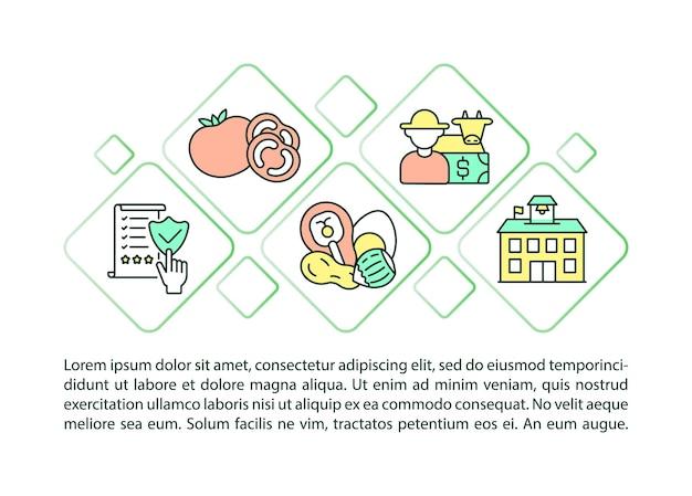 School maaltijd normen concept lijn pictogrammen met tekst