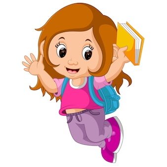 School meisje cartoon wandelen