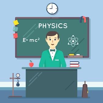 School natuurkunde leraar in publiek. klasse les, schoolbord en college, kennis leren in de klas. vector illustratie plat onderwijs concept