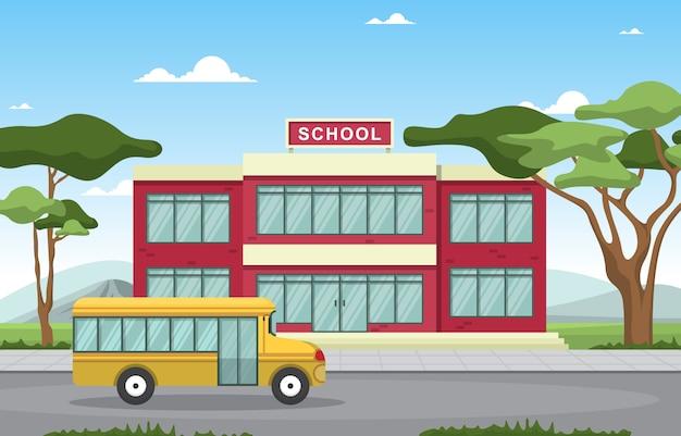 School onderwijs gebouw bus buiten landschap cartoon afbeelding