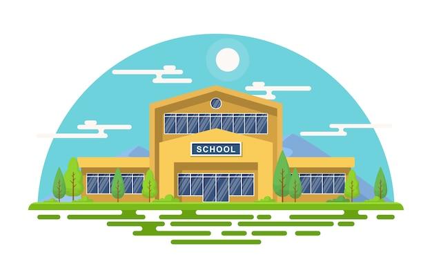 School onderwijs gebouw park buiten landschap cartoon afbeelding