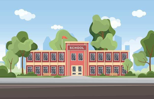 School onderwijs gebouw straat buiten landschap cartoon afbeelding