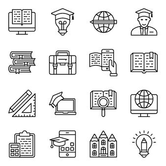 School onderwijs lijn iconen pack