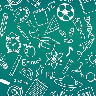 School onderwijs schets tekening naadloze patroon
