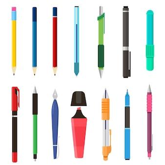 School pennen en potloden set. illustraties van briefpapier