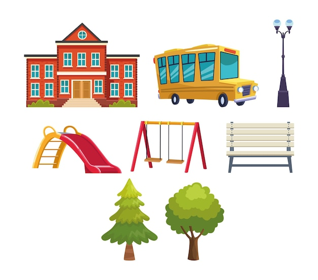 School pictogrammen instellen afbeelding