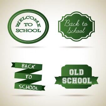 School pictogrammen over vintage achtergrond vectorillustratie