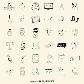 School pictogrammen tekening stijl