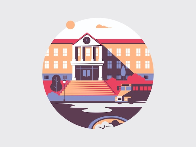 School platte gebouw architectuur. hogeschool en universiteit voor onderwijs, illustratie