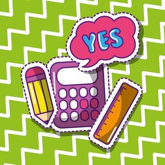 School rekenmachine potlood liniaal ja zeepbel spraak