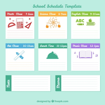 School schema met blauwe achtergrond