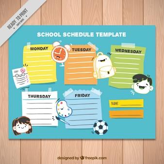 School schema sjabloon met pictogrammen en verschillende kleuren