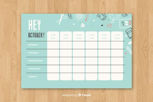 School tijdschema in vlakke stijl