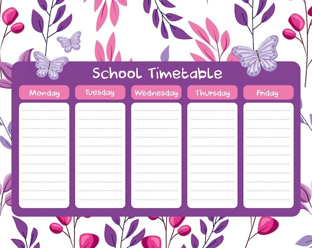 School tijdschema met bladeren takken