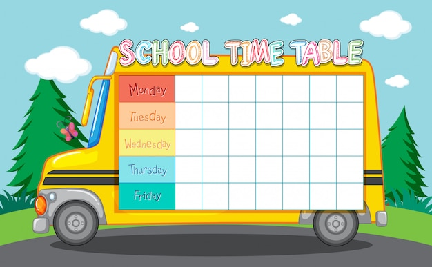 School tijdschema met schoolbus