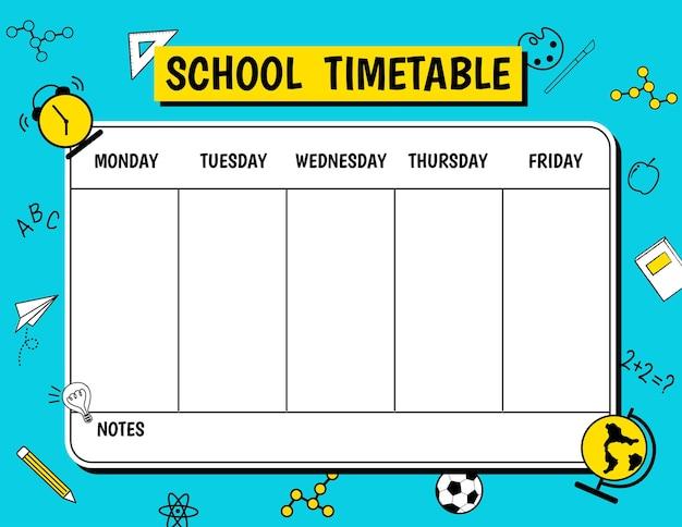 School tijdschema schema met briefpapier onderwijs symbool blauwe achtergrond.