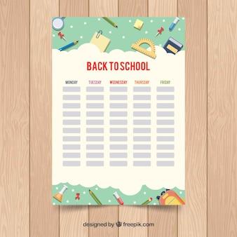 School tijdschema sjabloon in vlakke stijl