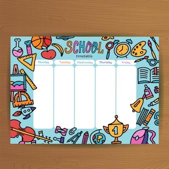 School tijdschema sjabloon. leerlingenschema met schoolbenodigdheden. lesplannen de hele week. opleiding