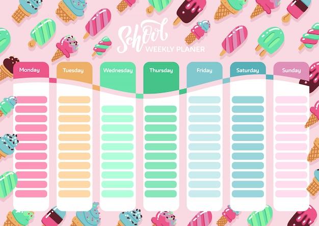 School tijdschema sjabloon met hand getrokken ijsjes