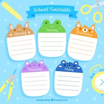 School tijdschema sjabloon met platte ontwerp