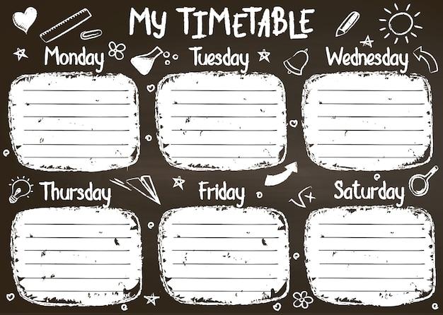 School tijdschema sjabloon op schoolbord