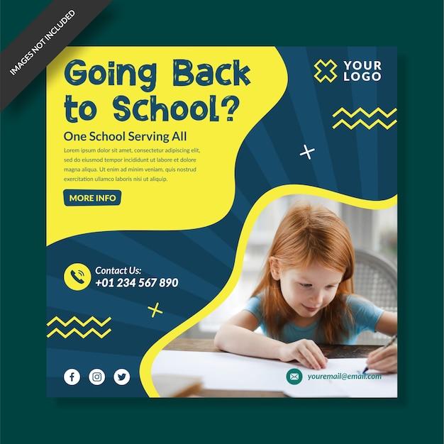 School toelating programma sociale media post ontwerp vector