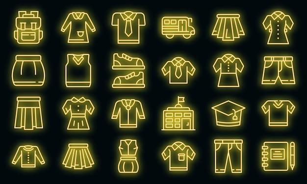 School uniform pictogrammen instellen. overzicht set van school uniform vector iconen neon kleur op zwart