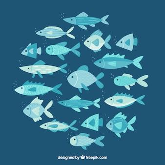 School van vissen achtergrond in de hand getrokken stijl
