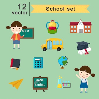 School vector set
