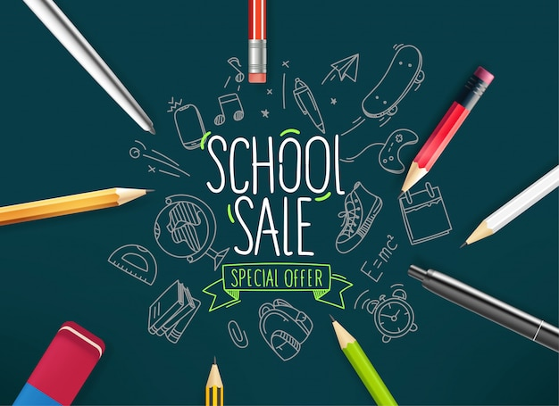 School verkoop banner, met doodle elementen