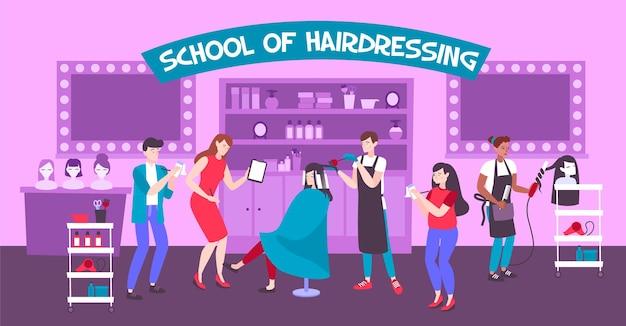 School voor kappers horizontale illustratie