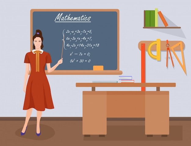 School wiskunde vrouwelijke leraar