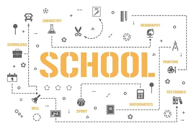 School woord concepten banner. terug naar studieproces tijdlijngrafiek. kennis infographics. presentatie, website. ui ux-idee. geïsoleerde belettering typografie met glyph-pictogrammen. platte vectorillustratie.