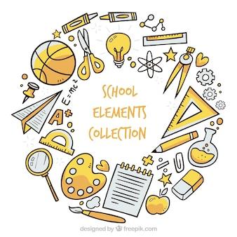 Schoolachtergrond met elementen