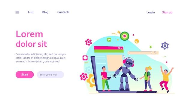 Schoolactiviteit en robotica klasse concept. de werkende robot van de jongen met afstandsbediening. vectorillustratie voor jonge ingenieur, onderwijs, robotica voor onderwerpen voor kinderen